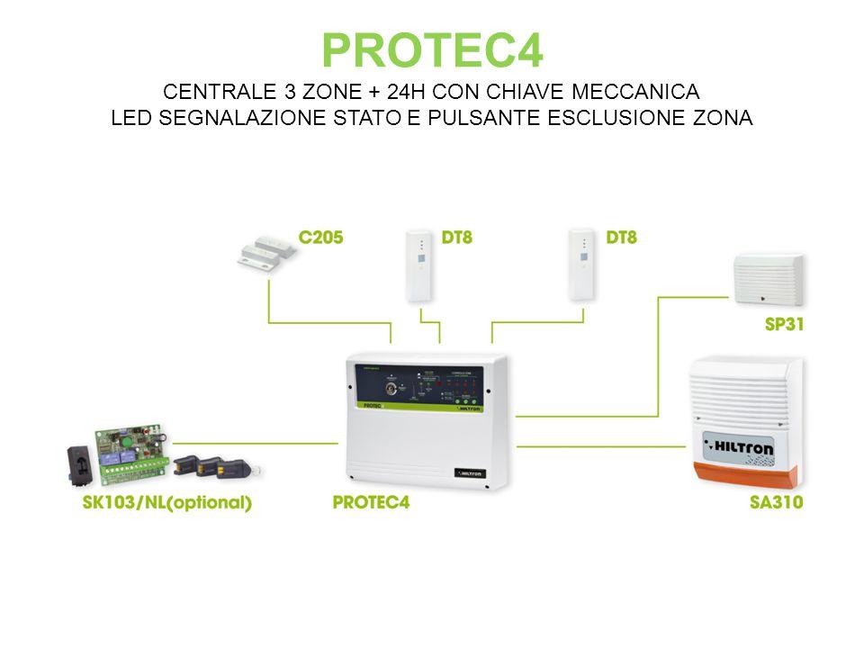 PROTEC4 CENTRALE 3 ZONE + 24H CON CHIAVE MECCANICA LED SEGNALAZIONE STATO E PULSANTE ESCLUSIONE ZONA