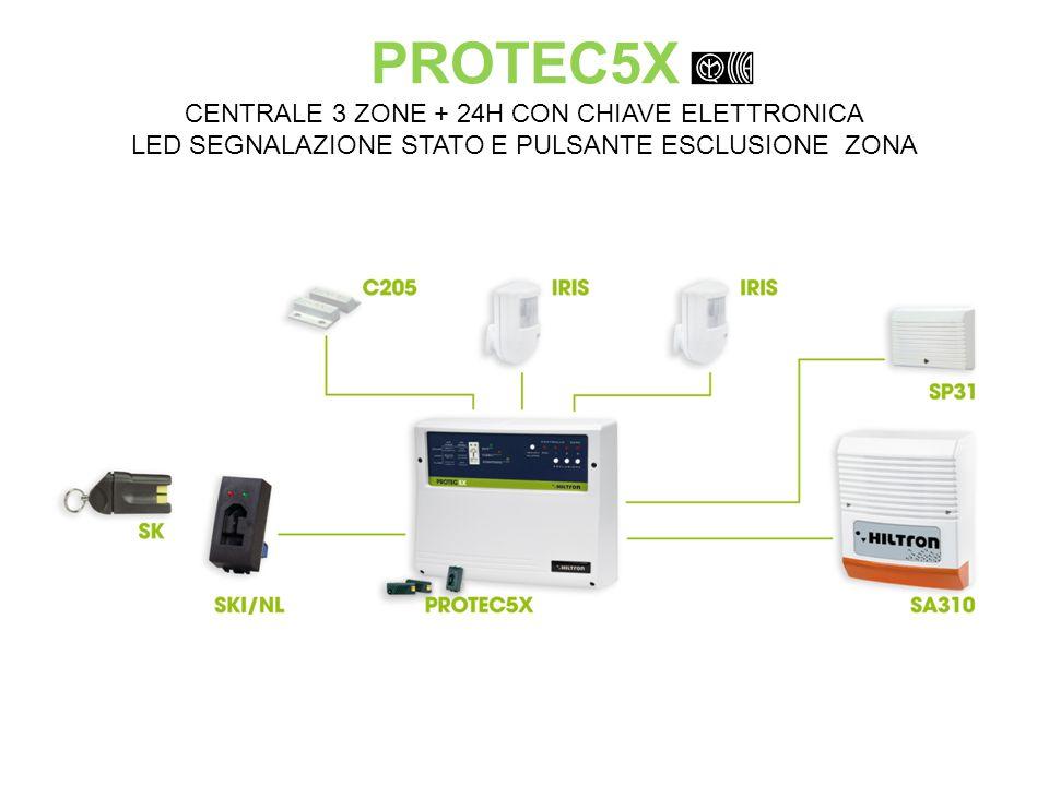 PROTEC5X CENTRALE 3 ZONE + 24H CON CHIAVE ELETTRONICA LED SEGNALAZIONE STATO E PULSANTE ESCLUSIONE ZONA