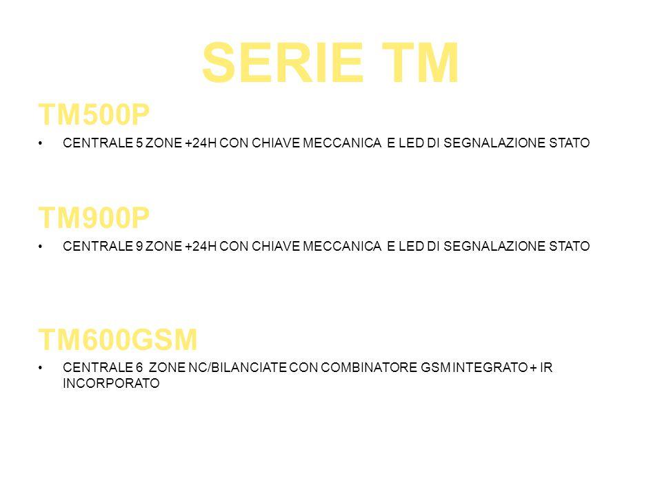 SERIE TM TM500P. CENTRALE 5 ZONE +24H CON CHIAVE MECCANICA E LED DI SEGNALAZIONE STATO. TM900P.