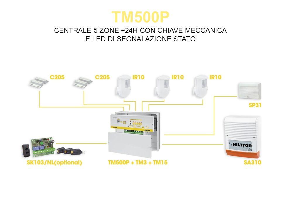 TM500P CENTRALE 5 ZONE +24H CON CHIAVE MECCANICA E LED DI SEGNALAZIONE STATO