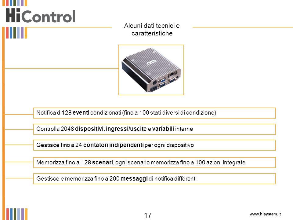 Alcuni dati tecnici e caratteristiche
