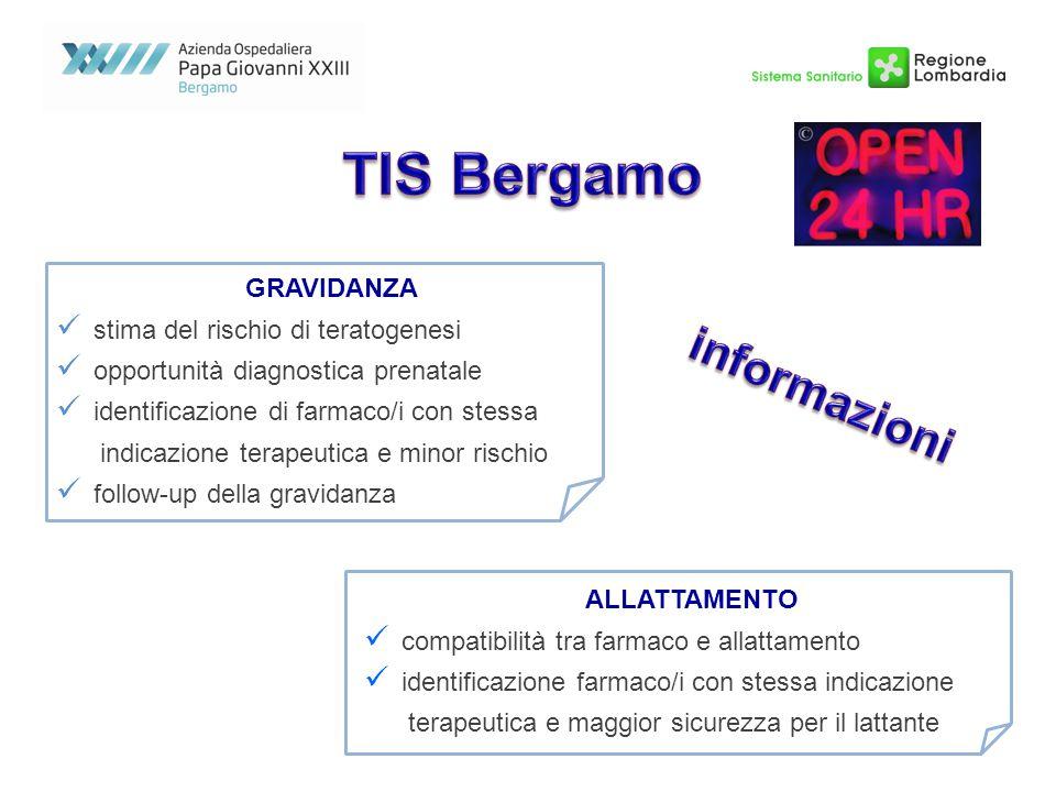 TIS Bergamo informazioni GRAVIDANZA stima del rischio di teratogenesi