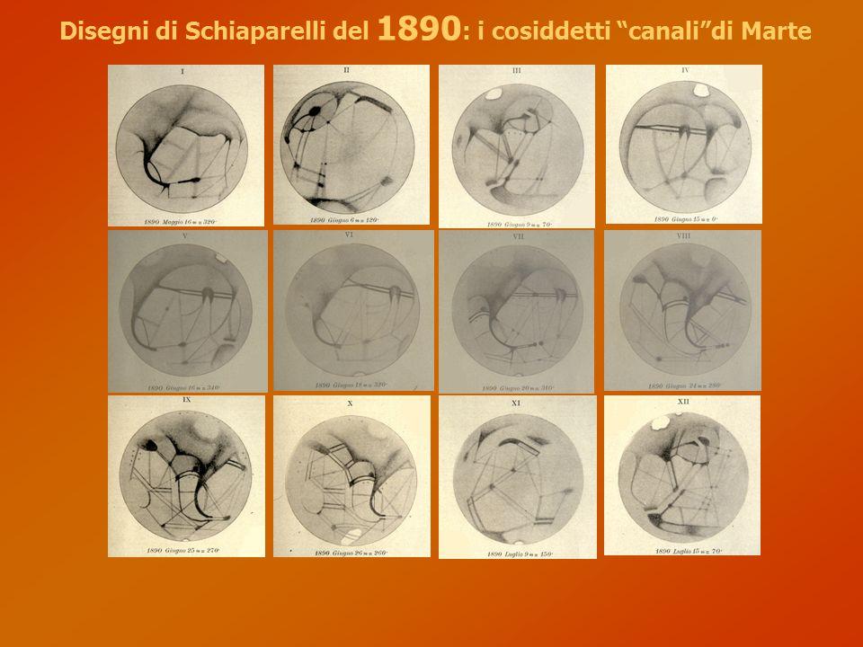 Disegni di Schiaparelli del 1890: i cosiddetti canali di Marte