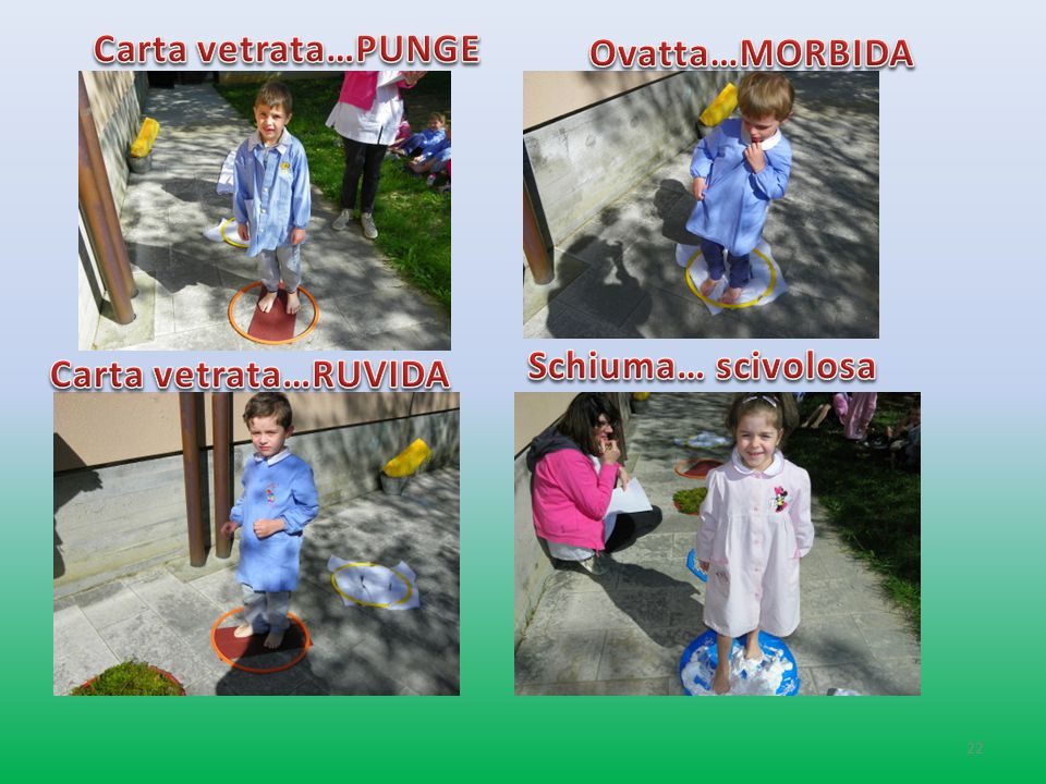 Carta vetrata…PUNGE Ovatta…MORBIDA Schiuma… scivolosa Carta vetrata…RUVIDA