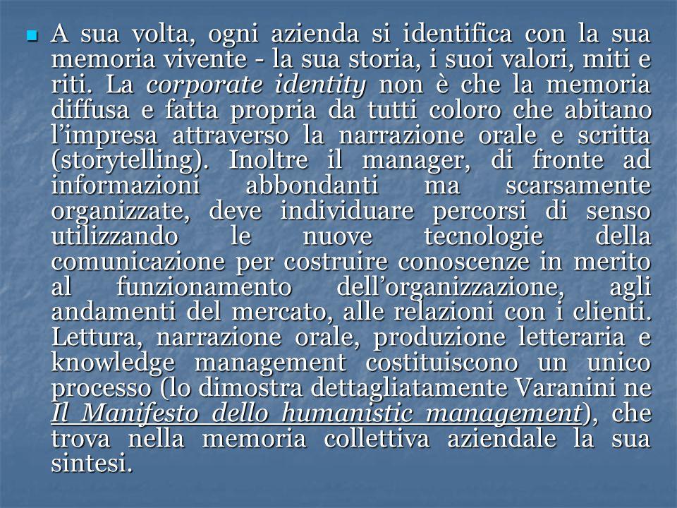 A sua volta, ogni azienda si identifica con la sua memoria vivente - la sua storia, i suoi valori, miti e riti.