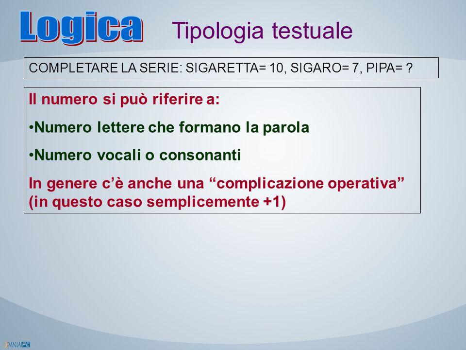 Logica Tipologia testuale Il numero si può riferire a: