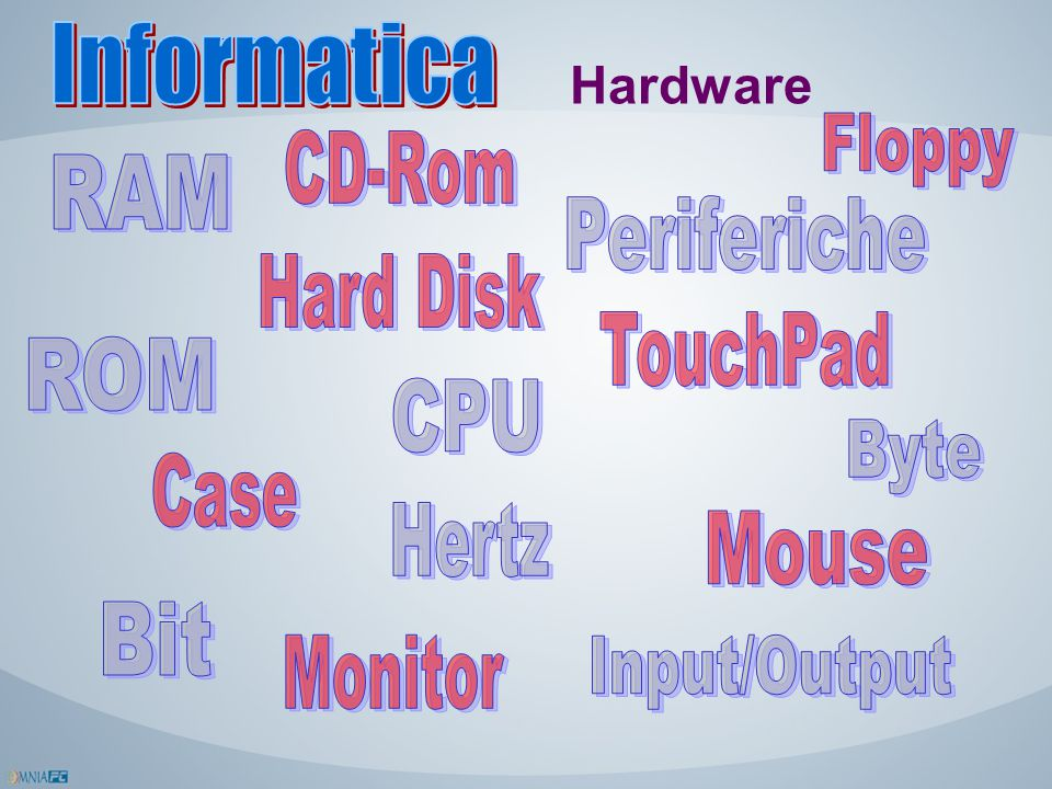 Informatica Hardware. Floppy. CD-Rom. RAM. Periferiche. Hard Disk. TouchPad. ROM. CPU. Byte.