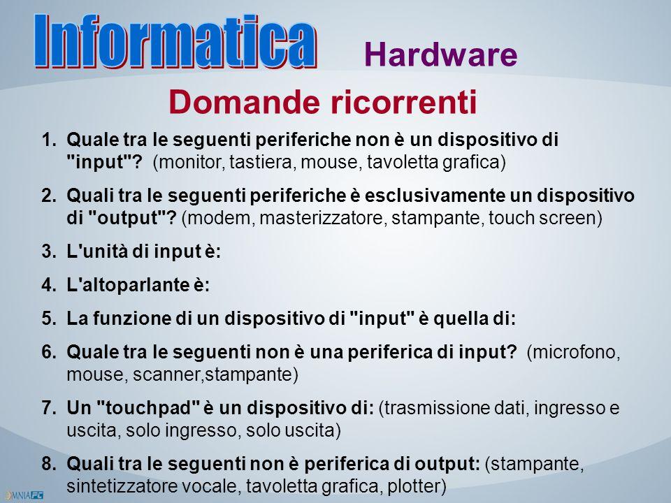 Informatica Hardware Domande ricorrenti