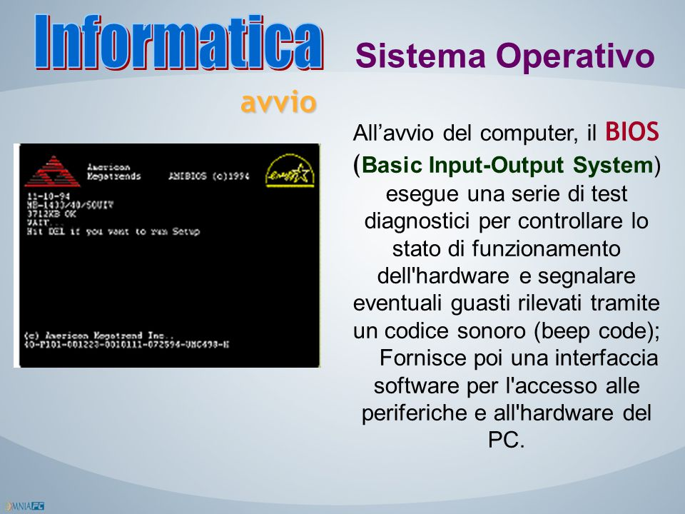 Informatica Sistema Operativo avvio