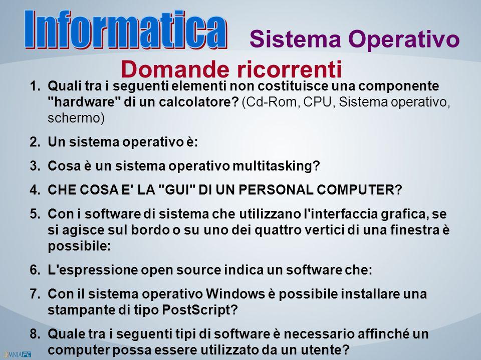 Informatica Sistema Operativo Domande ricorrenti