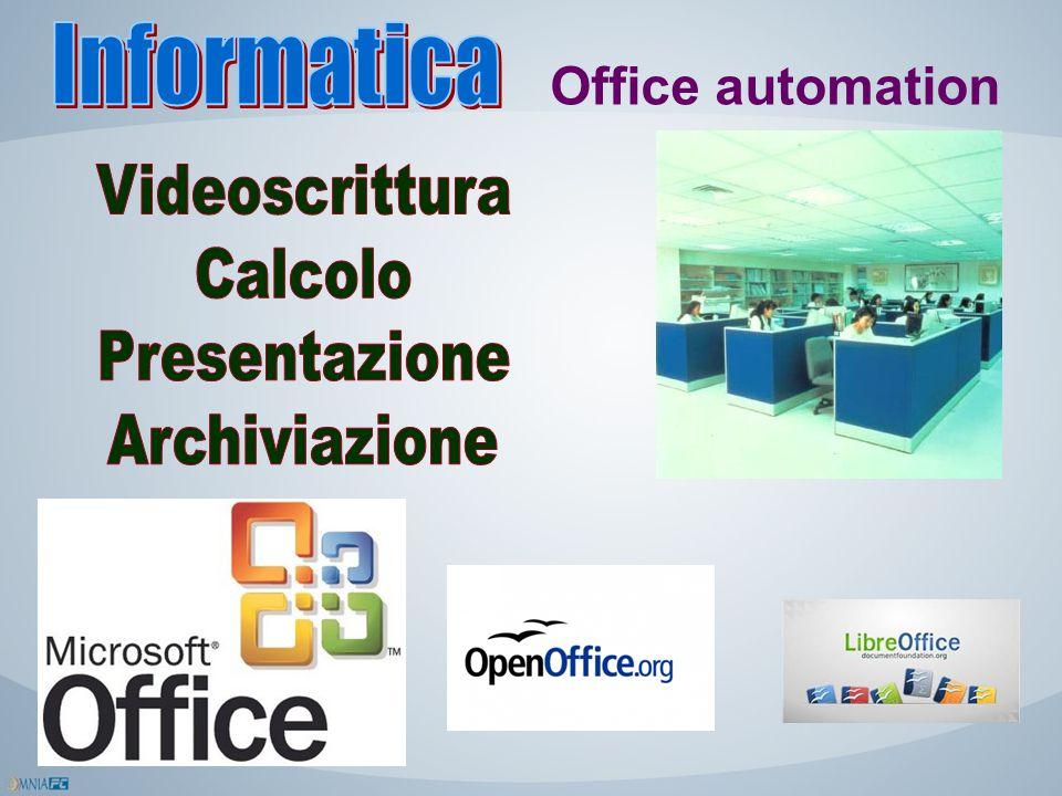 Informatica Office automation Videoscrittura Calcolo Presentazione Archiviazione