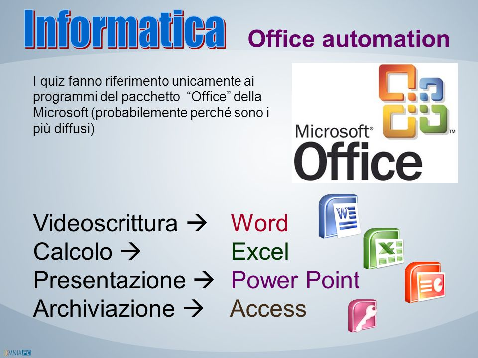 Presentazione  Power Point Archiviazione  Access