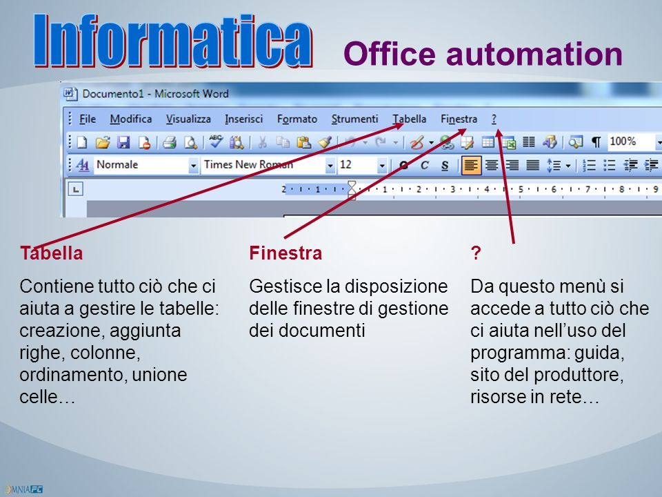 Informatica Office automation Tabella