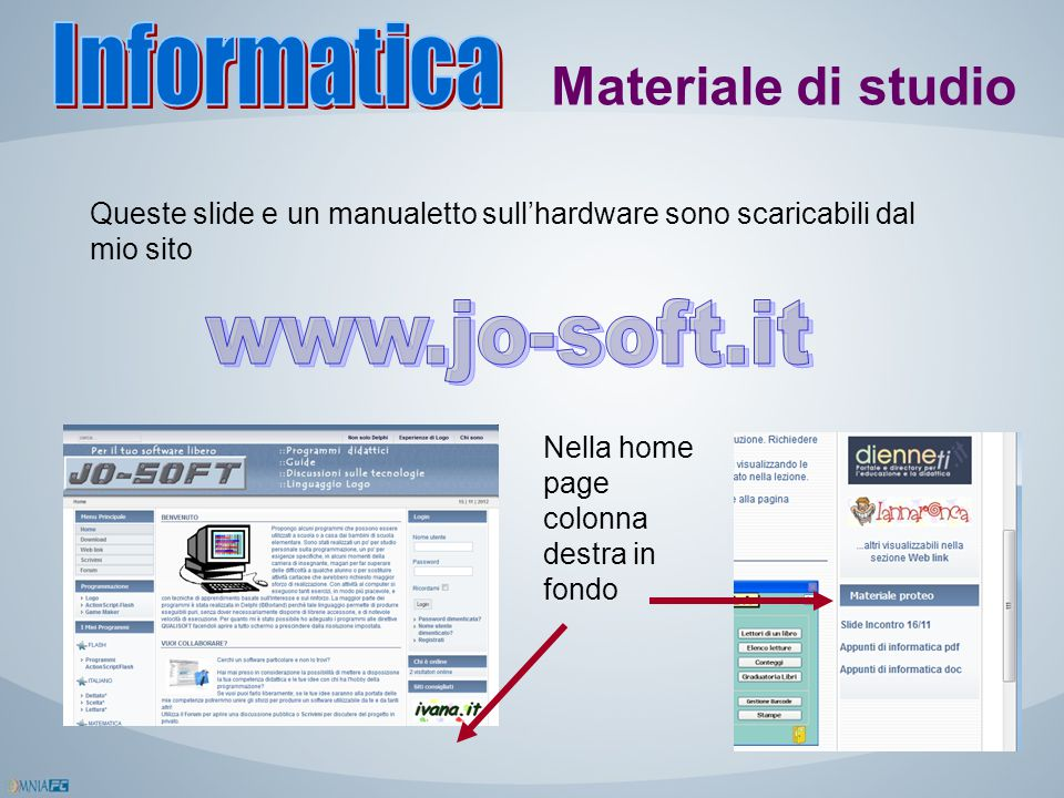 Informatica Materiale di studio www.jo-soft.it