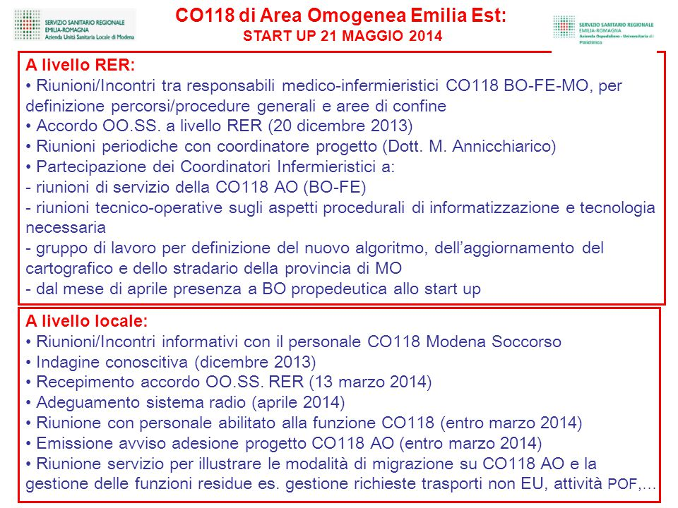 CO118 di Area Omogenea Emilia Est: