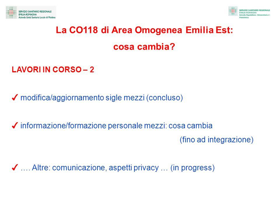 La CO118 di Area Omogenea Emilia Est: