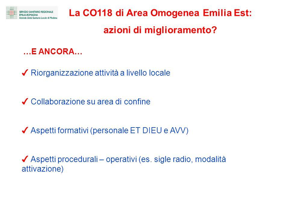 La CO118 di Area Omogenea Emilia Est: azioni di miglioramento