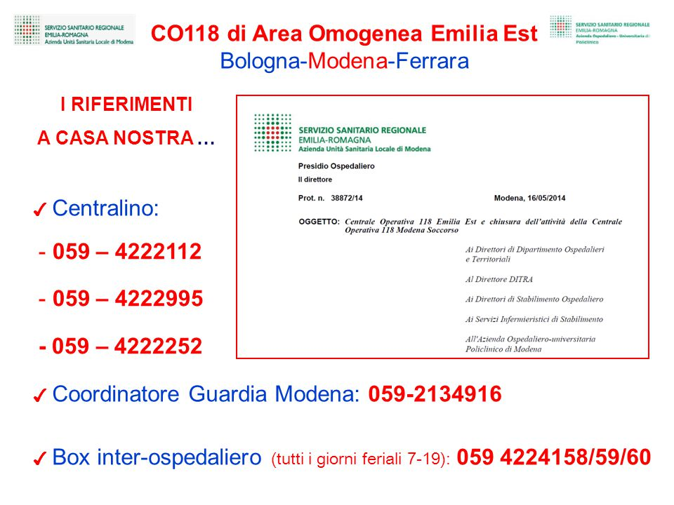 CO118 di Area Omogenea Emilia Est