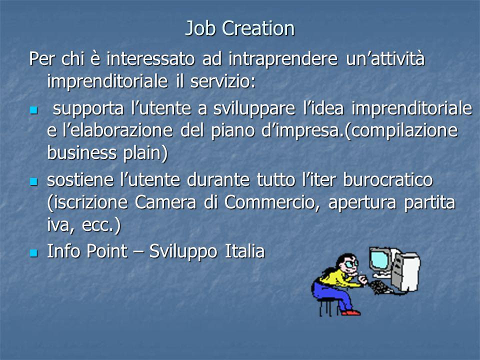 Job Creation Per chi è interessato ad intraprendere un'attività imprenditoriale il servizio: