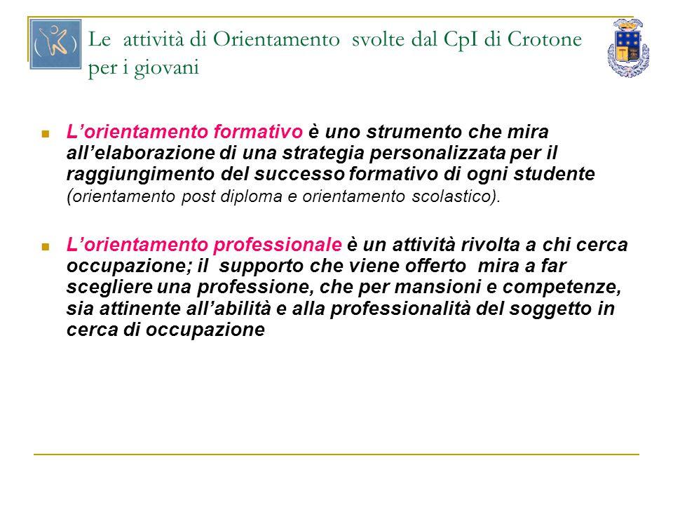 Le attività di Orientamento svolte dal CpI di Crotone per i giovani