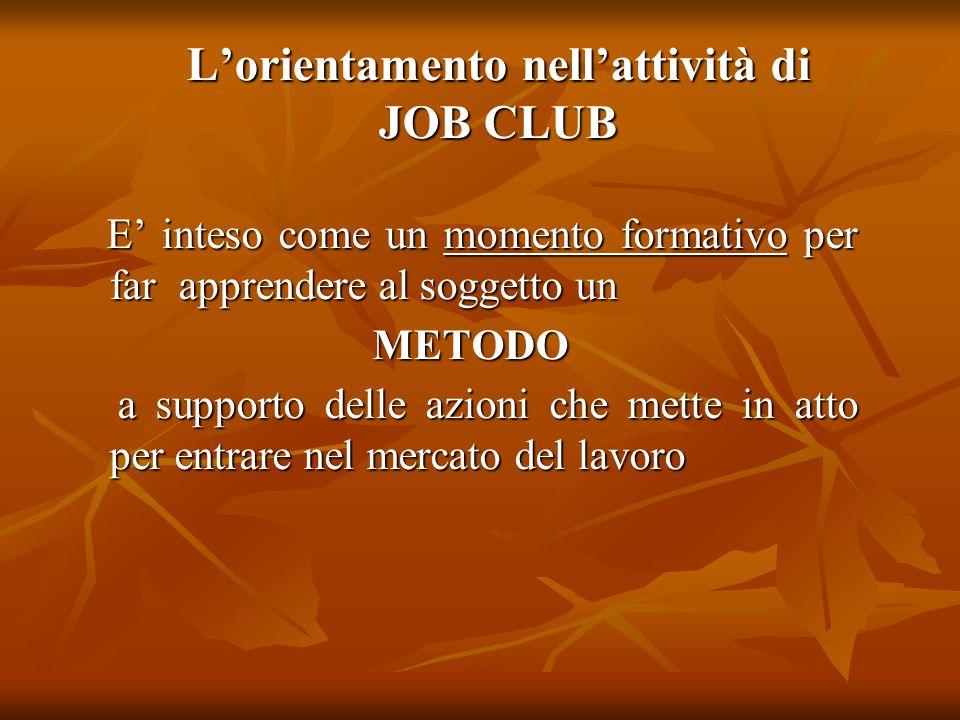 L'orientamento nell'attività di JOB CLUB