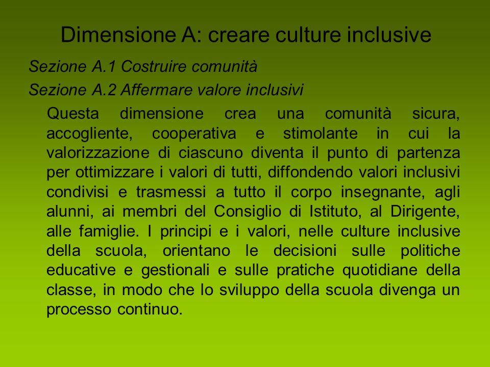 Dimensione A: creare culture inclusive