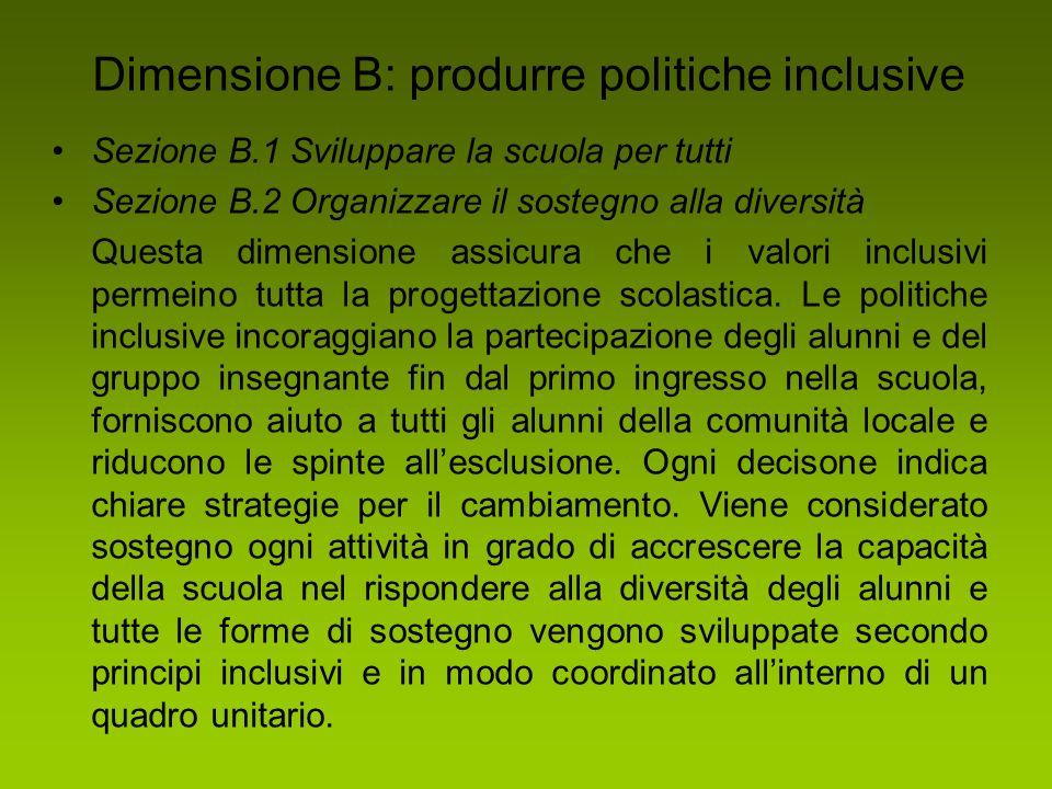 Dimensione B: produrre politiche inclusive