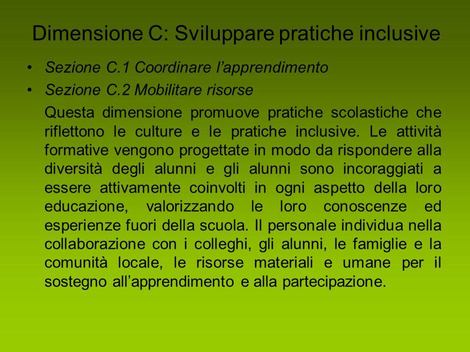 Dimensione C: Sviluppare pratiche inclusive