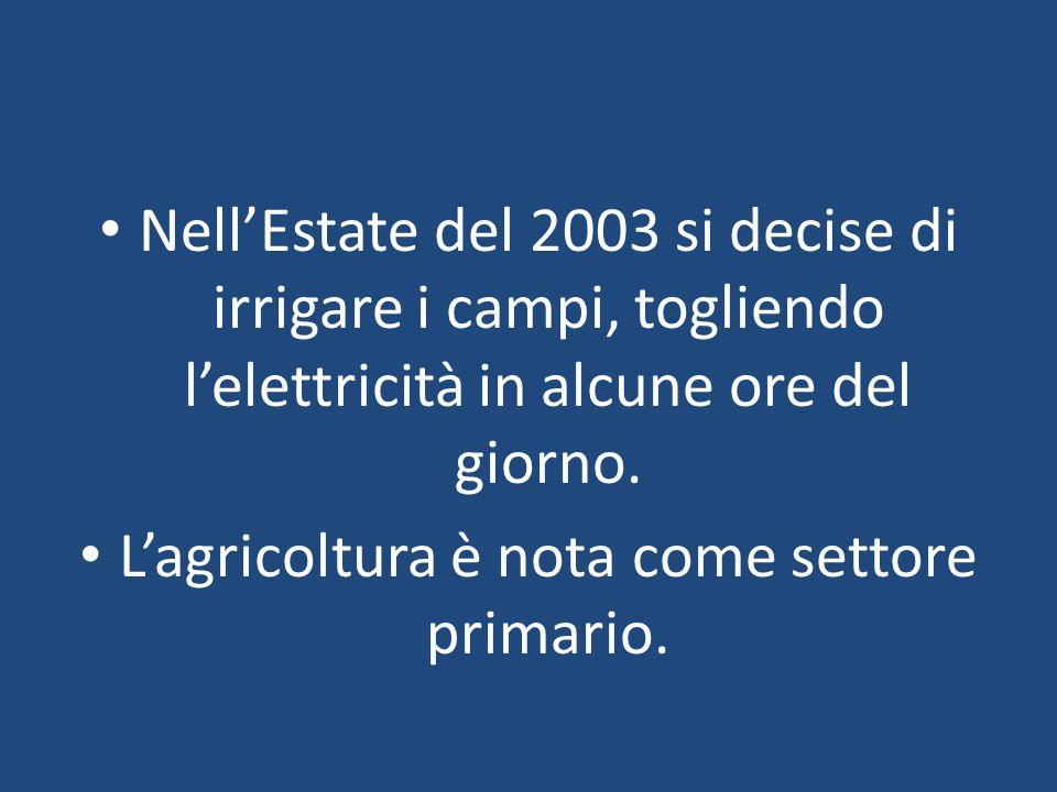 L'agricoltura è nota come settore primario.