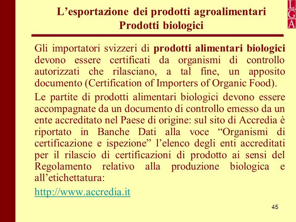 L'esportazione dei prodotti agroalimentari Prodotti biologici