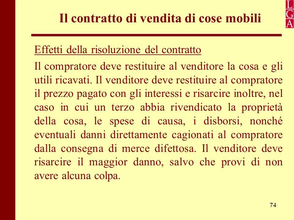 Il contratto di vendita di cose mobili