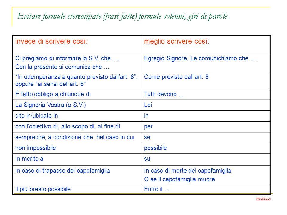 Evitare formule stereotipate (frasi fatte) formule solenni, giri di parole.