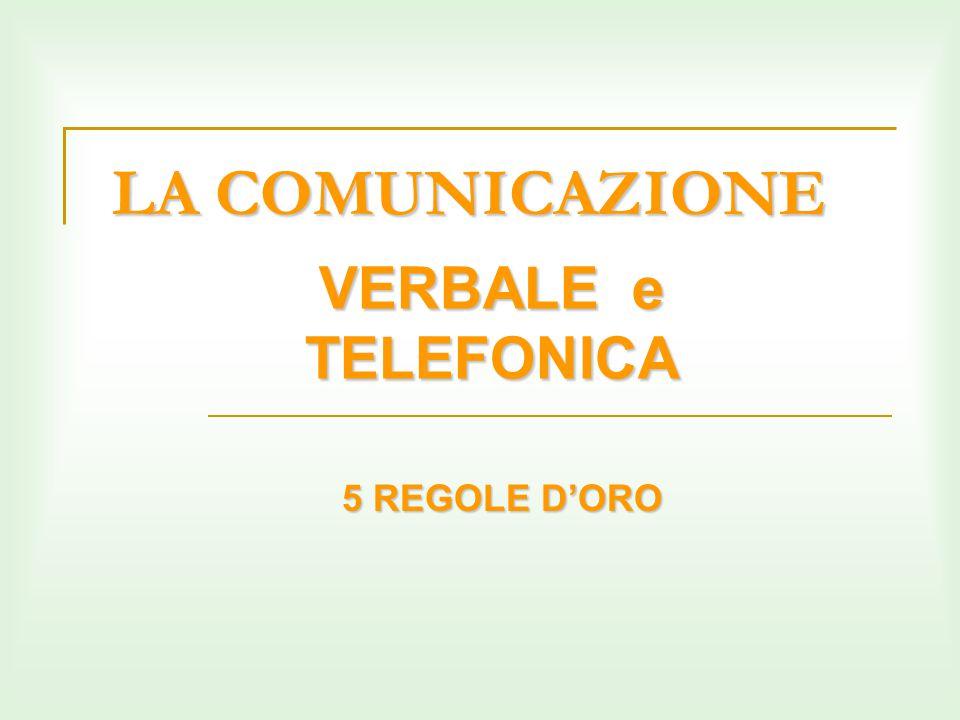 LA COMUNICAZIONE VERBALE e TELEFONICA 5 REGOLE D'ORO