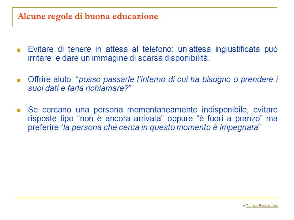 Alcune regole di buona educazione