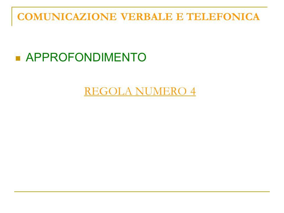 COMUNICAZIONE VERBALE E TELEFONICA