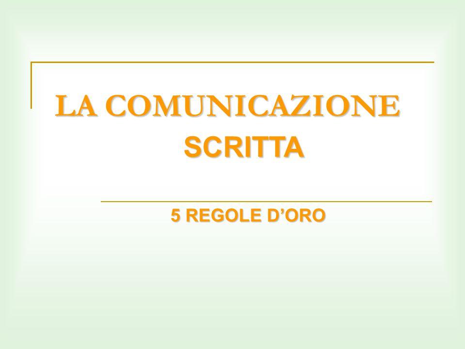 LA COMUNICAZIONE SCRITTA 5 REGOLE D'ORO