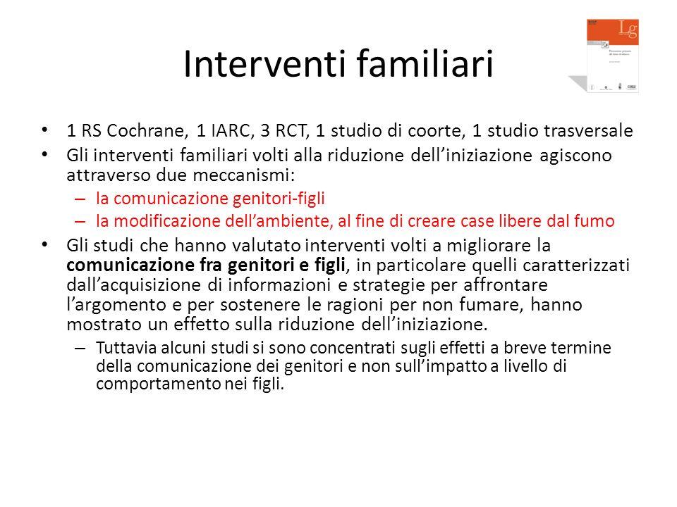 Interventi familiari 1 RS Cochrane, 1 IARC, 3 RCT, 1 studio di coorte, 1 studio trasversale.
