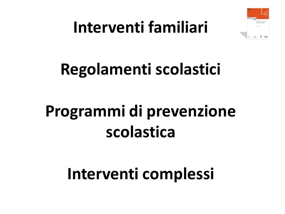 Regolamenti scolastici Programmi di prevenzione scolastica