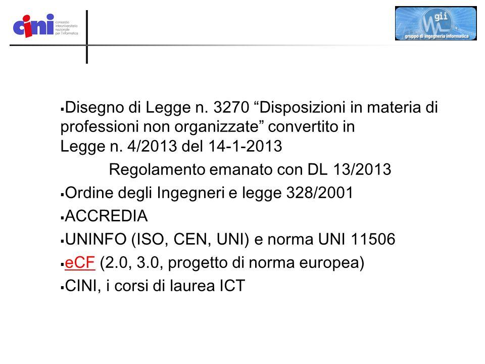 Disegno di Legge n. 3270 Disposizioni in materia di professioni non organizzate convertito in Legge n. 4/2013 del 14-1-2013