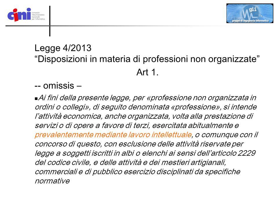 Legge 4/2013 Disposizioni in materia di professioni non organizzate
