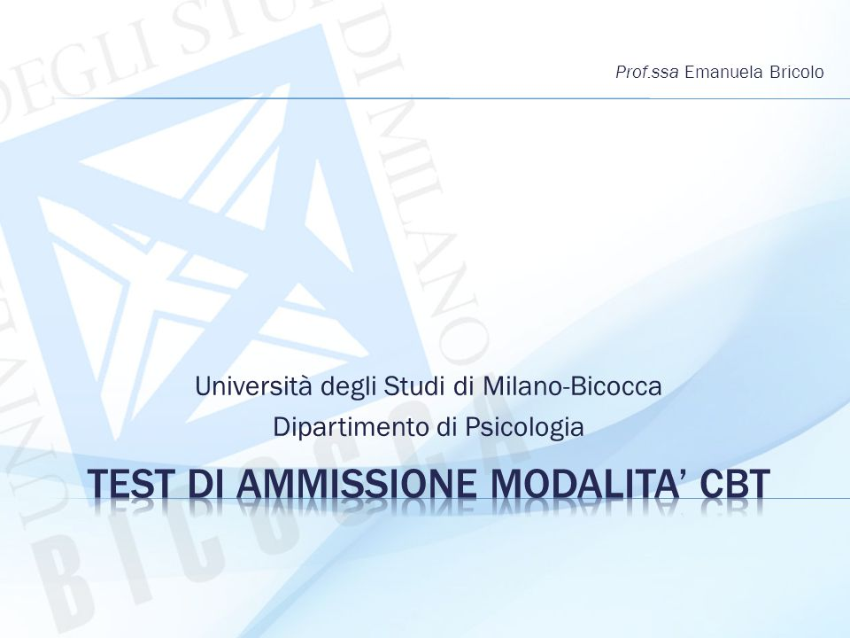 TEST DI AMMISSIONE MODALITA' CBT