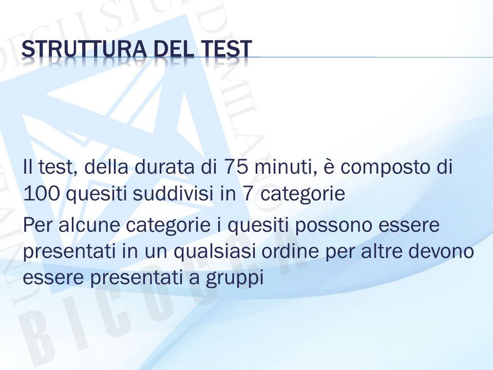 Struttura del test Il test, della durata di 75 minuti, è composto di 100 quesiti suddivisi in 7 categorie.
