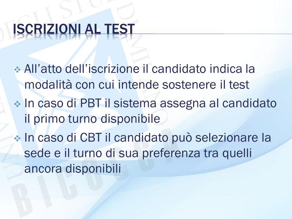 Iscrizioni al test All'atto dell'iscrizione il candidato indica la modalità con cui intende sostenere il test.
