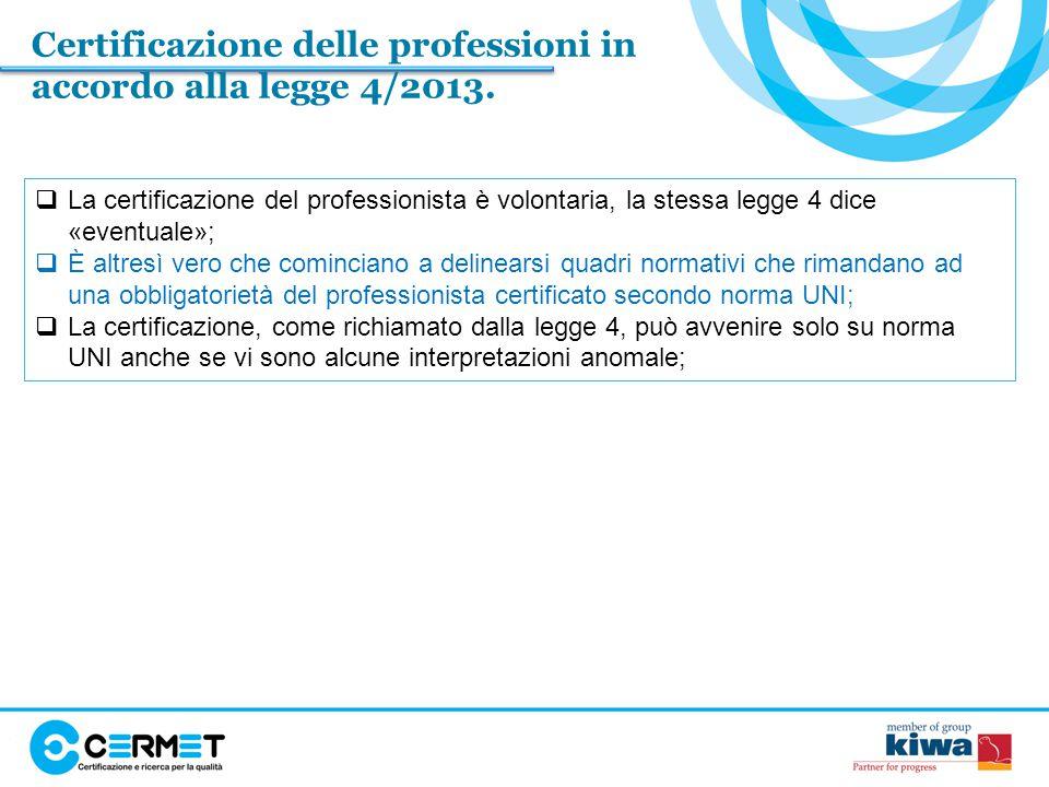 Certificazione delle professioni in accordo alla legge 4/2013.