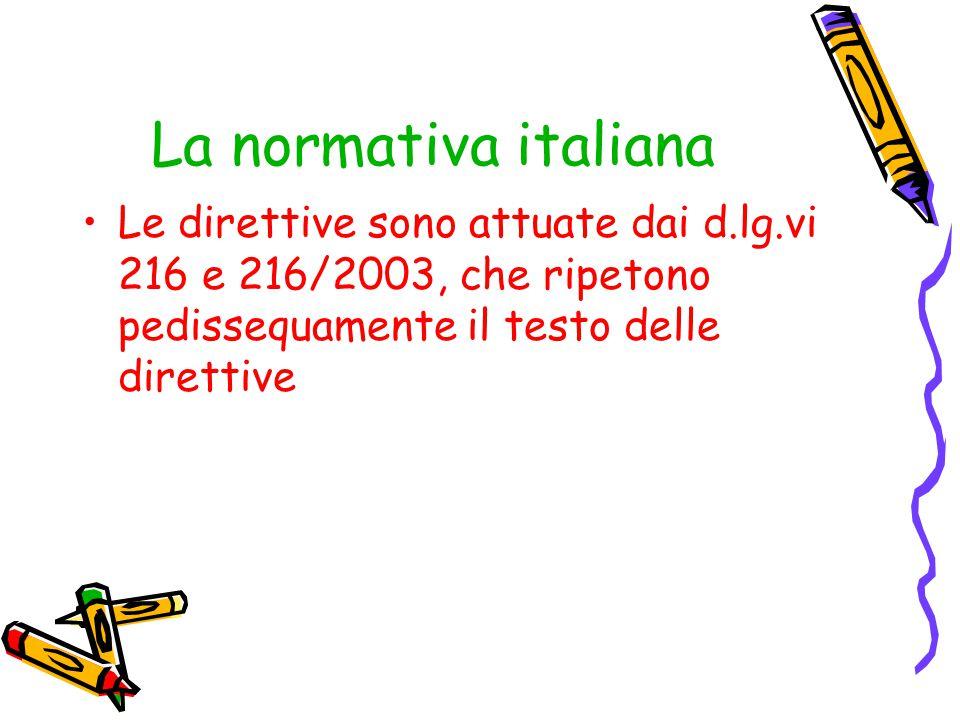 La normativa italiana Le direttive sono attuate dai d.lg.vi 216 e 216/2003, che ripetono pedissequamente il testo delle direttive.