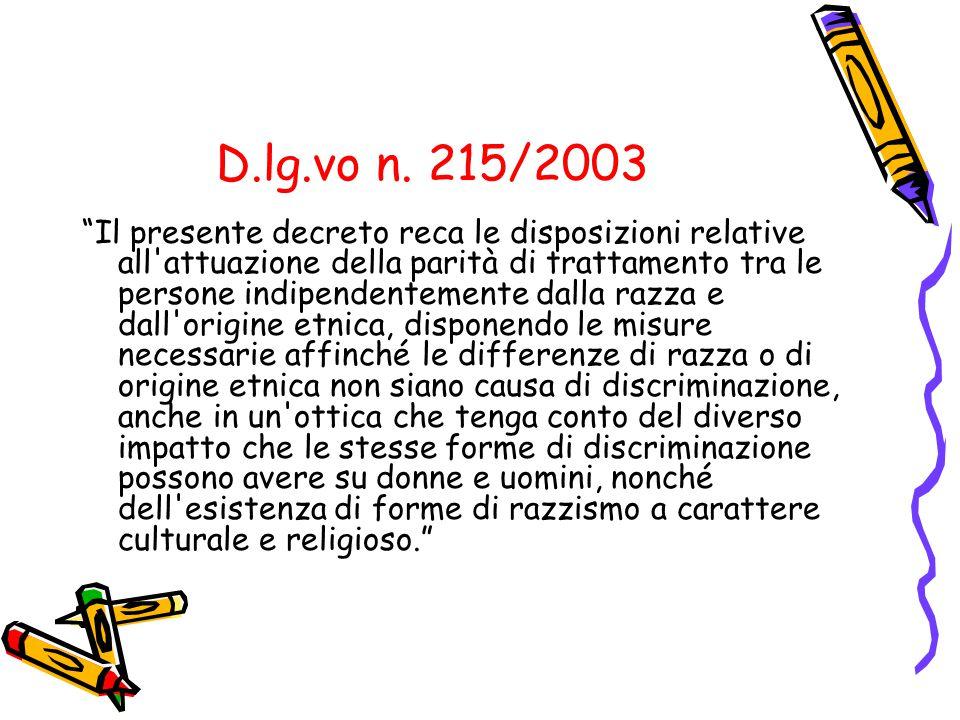 D.lg.vo n. 215/2003