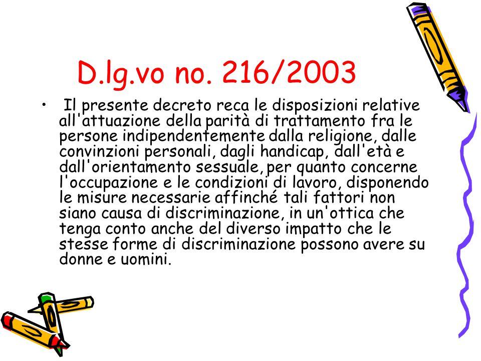 D.lg.vo no. 216/2003