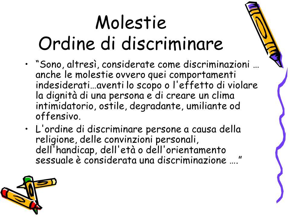 Molestie Ordine di discriminare