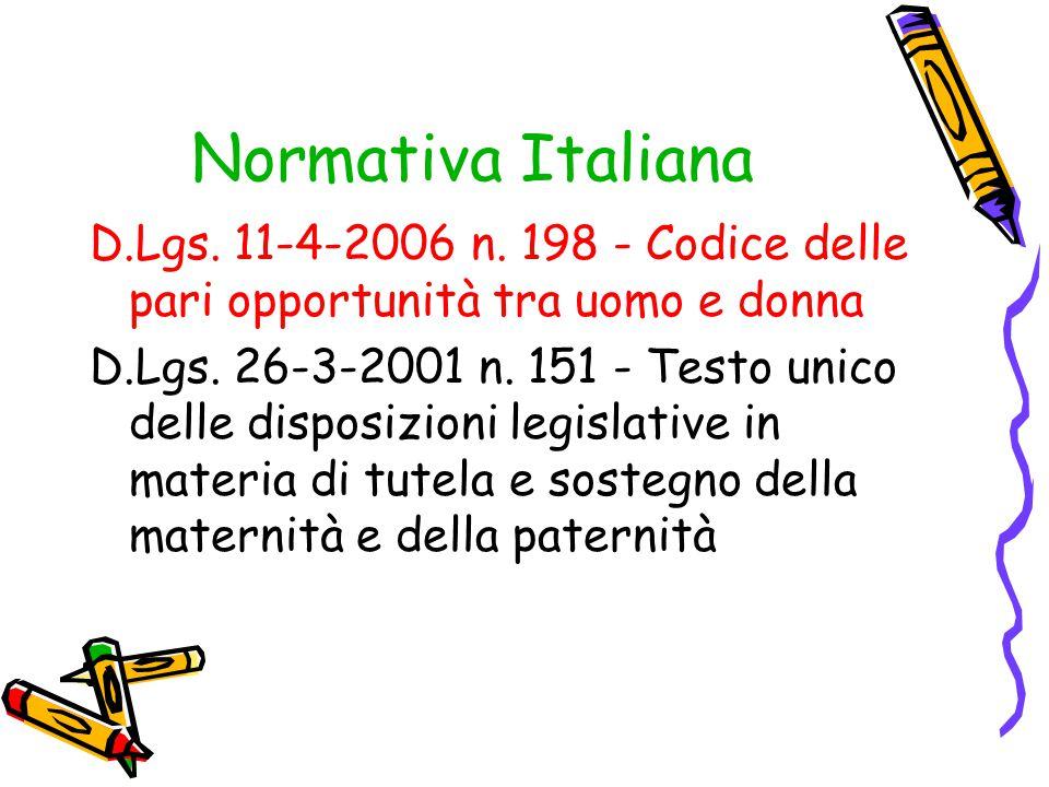 Normativa Italiana D.Lgs. 11-4-2006 n. 198 - Codice delle pari opportunità tra uomo e donna.