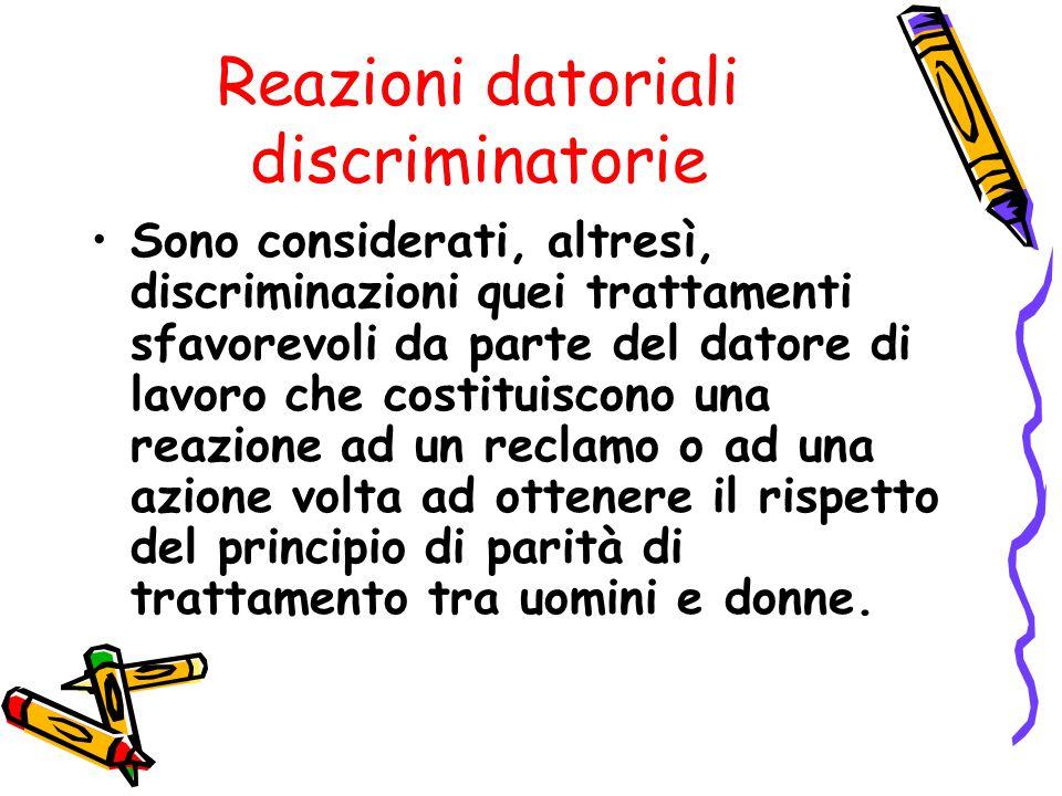 Reazioni datoriali discriminatorie